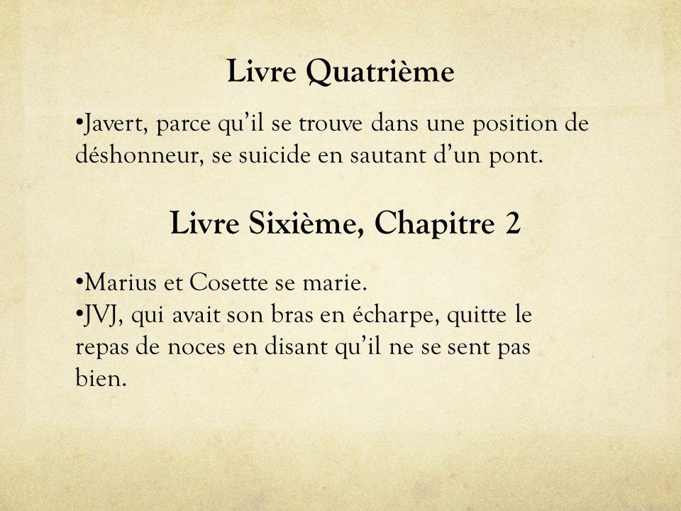 Livre Quatrième • Javert, parce qu'il se trouve dans une position de déshonneur, se suicide en sautant d'un pont.