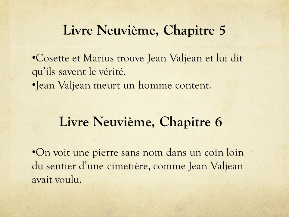 Livre Neuvième, Chapitre 5 • Cosette et Marius trouve Jean Valjean et lui dit qu'ils savent le vérité.