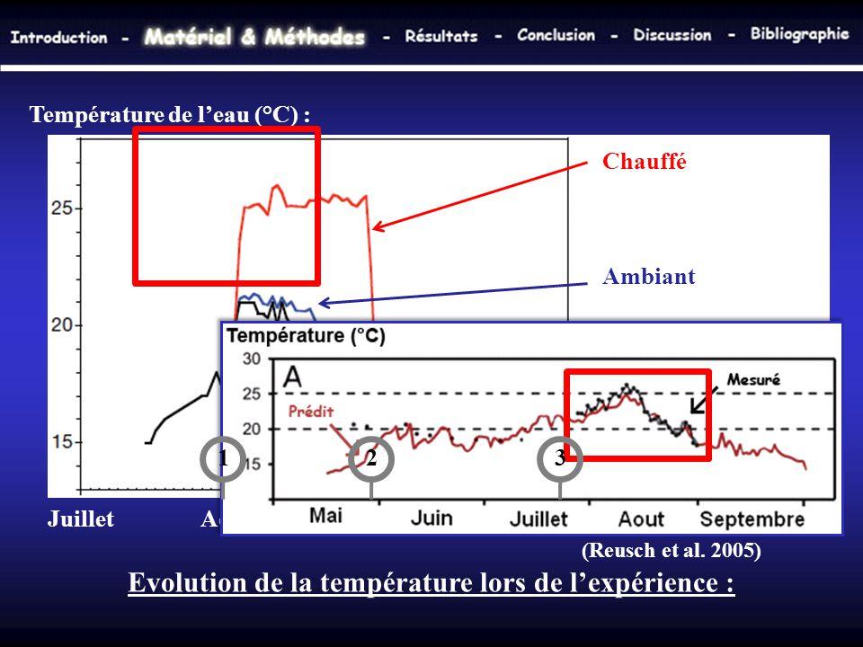 Evolution de la température lors de l'expérience : Température de l'eau (°C) : Juillet Aout Septembre Octobre Chauffé Ambiant Kiel fjord (Reusch et al