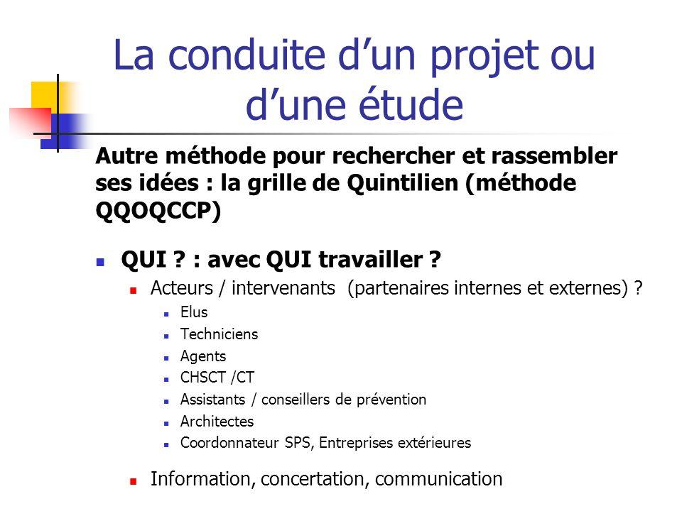 La conduite d'un projet ou d'une étude  QUOI . Quel est le thème .