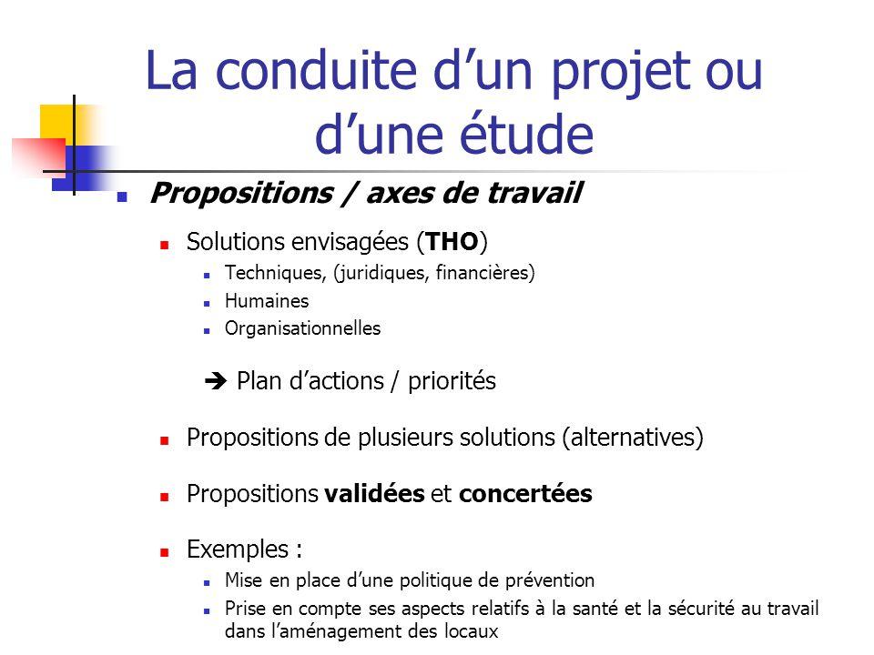 La conduite d'un projet ou d'une étude  Propositions / axes de travail  Solutions hiérarchisées (au regard des priorités identifiées) et argumentées  Quels sont les avantages / inconvénients / conséquences liés à ces solutions .