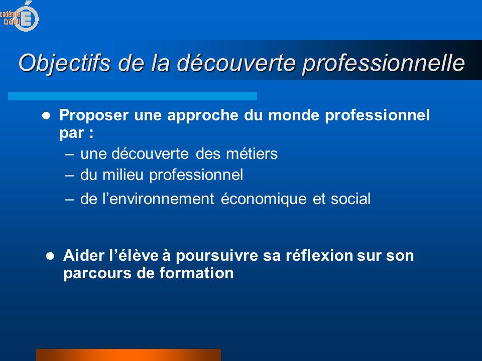 Objectifs de la découverte professionnelle  Proposer une approche du monde professionnel par : –une découverte des métiers –du milieu professionnel –de l'environnement économique et social  Aider l'élève à poursuivre sa réflexion sur son parcours de formation
