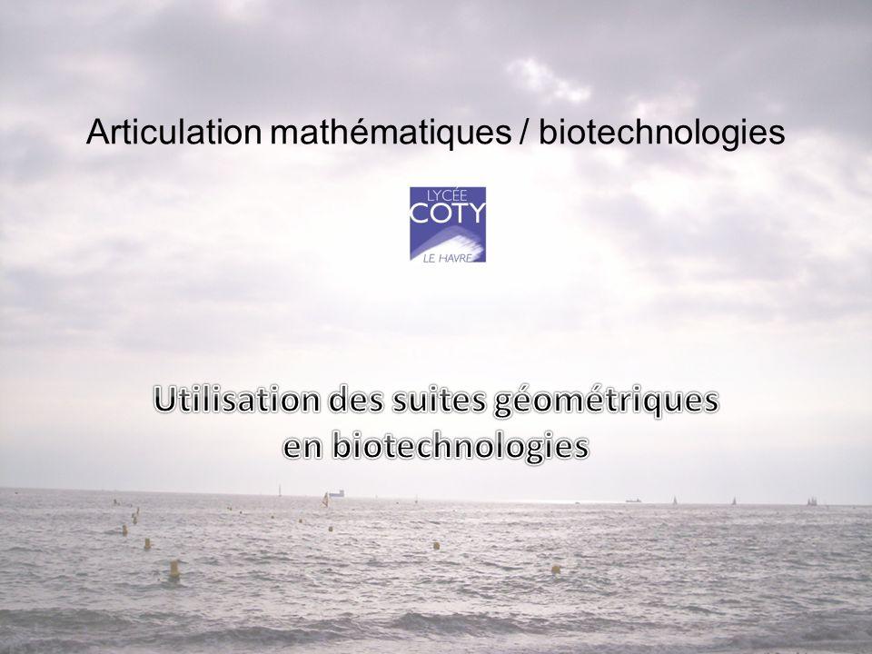 Explication du choix du sujet • L'utilisation des suites géométriques permet : un calcul plus rapide des différentes concentrations lors des activités technologiques portant sur la détermination de la CMI, dans la titration de sérum