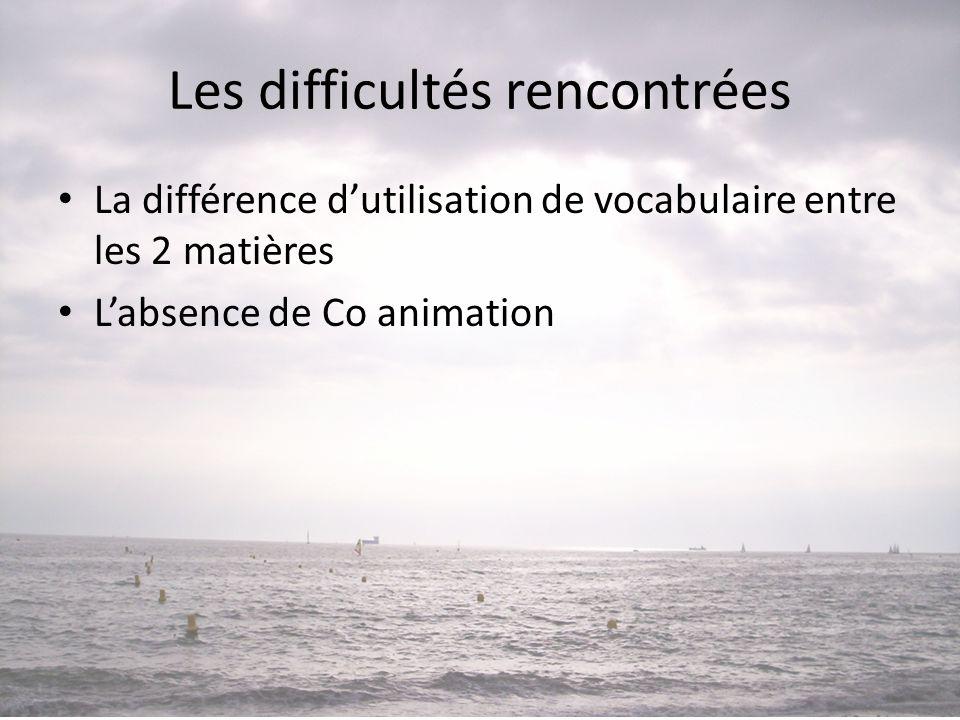 Les difficultés rencontrées • La différence d'utilisation de vocabulaire entre les 2 matières • L'absence de Co animation