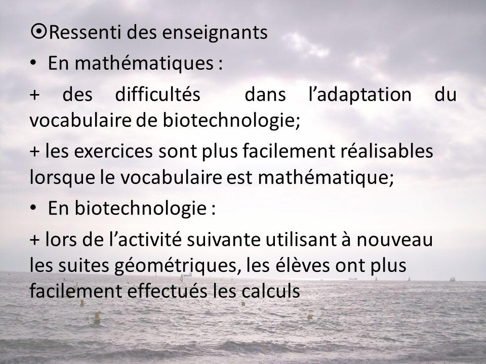 Ressenti des enseignants • En mathématiques : + des difficultés dans l'adaptation du vocabulaire de biotechnologie; + les exercices sont plus facile
