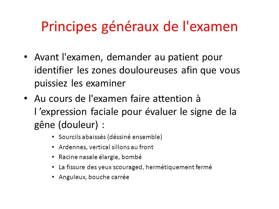 Principes généraux de l'examen • Avant l'examen, demander au patient pour identifier les zones douloureuses afin que vous puissiez les examiner • Au c