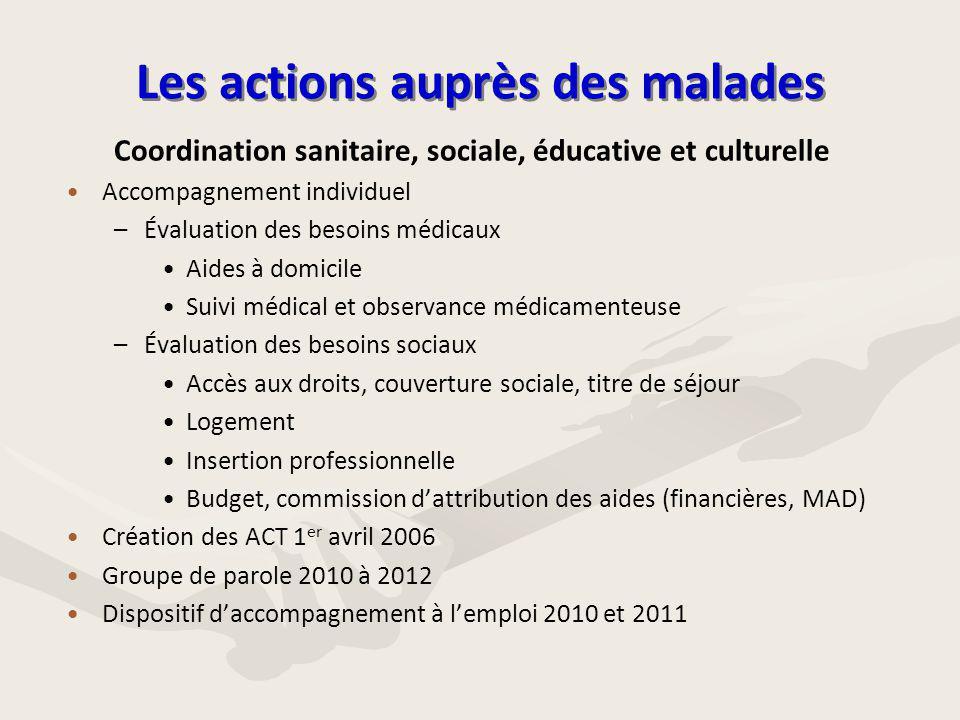 Les actions auprès des malades Coordination sanitaire, sociale, éducative et culturelle • •Accompagnement individuel – –Évaluation des besoins médicau