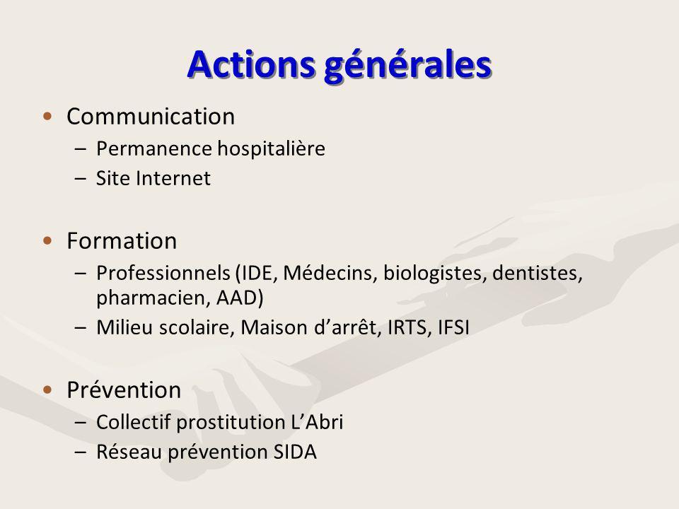 Actions générales • •Communication – –Permanence hospitalière – –Site Internet • •Formation – –Professionnels (IDE, Médecins, biologistes, dentistes,