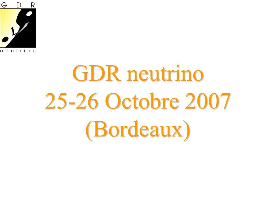 Agenda Jeudi 25 octobre •14:00 Introduction (15 ) •14:15 Synergies between atmospheric and long- baseline neutrino data (30 ) Michèle Maltoni •14:45 Borexino (30 ) Hervé De Kerret •15:15 Katrin (30 ) Ernst Otten •15:45 Pause •16:15 Daya Bay (30 ) Kam-biu Luk •16:45 Supernova neutrino nucleosynthesis (30 ) Takashi Yoshida •17:15 Projets FP7 (45 ) •EUROnu •LAGUNA Vendredi 26 octobre •09:00 GT1 (Détermination des paramètres du neutrino) •OPERA (20 ) Antoine Cazès •Double Chooz (20 ) David Lhuillier •T2K (20 ) Marco Zito •10:00 GT2 (Physique au-delà du modèle Standard) •nuMSM François Vanucci •10:30 Pause •11:00 GT3 (Neutrinos dans l univers) •Propriétés non standard des neutrinos (20 ) Jérome Gava •Neutrinos de supernovae reliques (20 ) Julien Welzel •11:45 GT4 (Accélerateurs, détecteurs) •PM hybrides (20 ) Greg Hallewell •Détection acoustique (20 ) Valentin Niess •12:30 Déjeuner •14:00 GT4 (suite) •SuperNEMO (20 ) Gwenaëlle Broudin •TbA (20 ) Ioannis Giomataris •14:45 Discussion (45 )