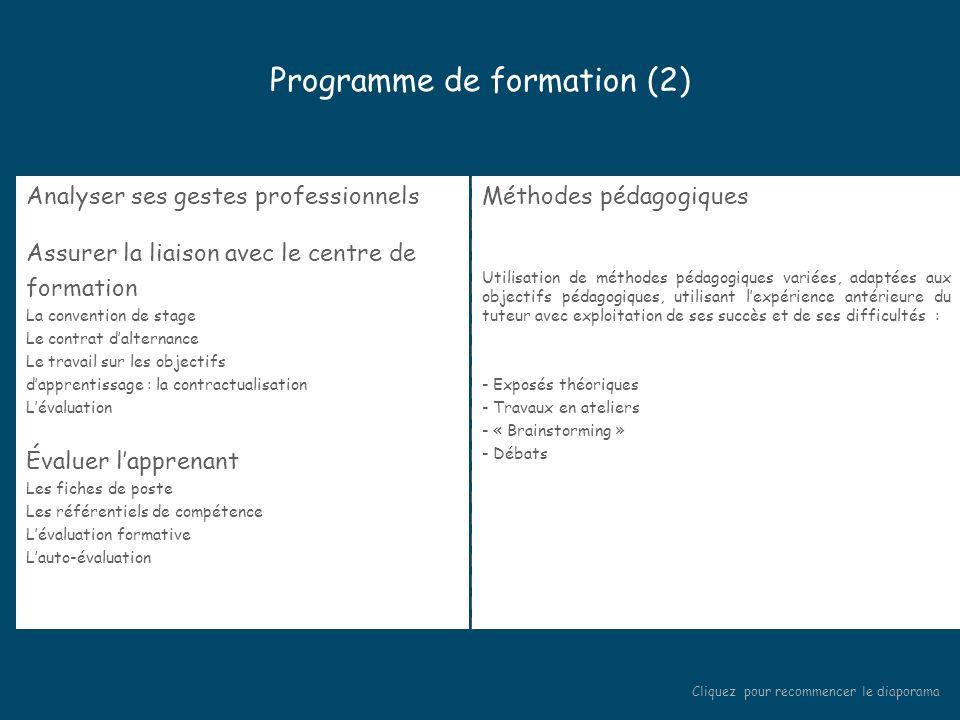 Programme de formation (1) Accueil des stagiaires Présentation des stagiaires Présentation de la formation Les enjeux et les objectifs de l'alternance