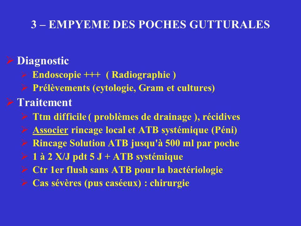 3 – EMPYEME DES POCHES GUTTURALES  Diagnostic  Endoscopie +++ ( Radiographie )  Prélèvements (cytologie, Gram et cultures)  Traitement  Ttm diffi