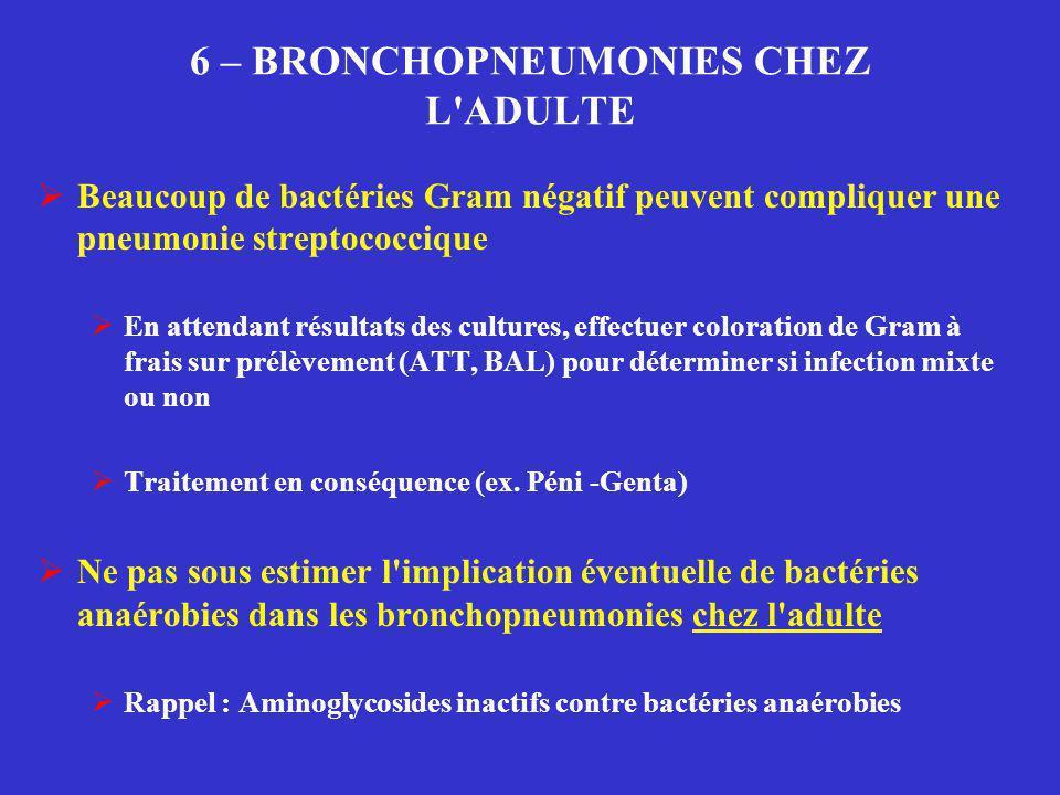 6 – BRONCHOPNEUMONIES CHEZ L'ADULTE  Beaucoup de bactéries Gram négatif peuvent compliquer une pneumonie streptococcique  En attendant résultats des
