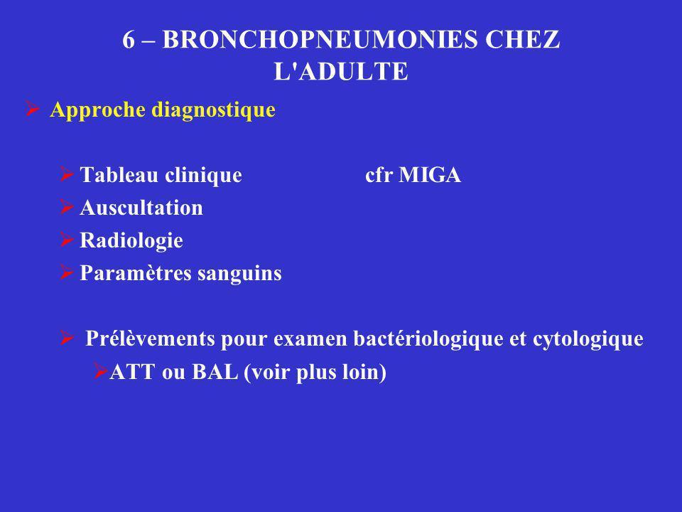 6 – BRONCHOPNEUMONIES CHEZ L'ADULTE  Approche diagnostique  Tableau cliniquecfr MIGA  Auscultation  Radiologie  Paramètres sanguins  Prélèvement