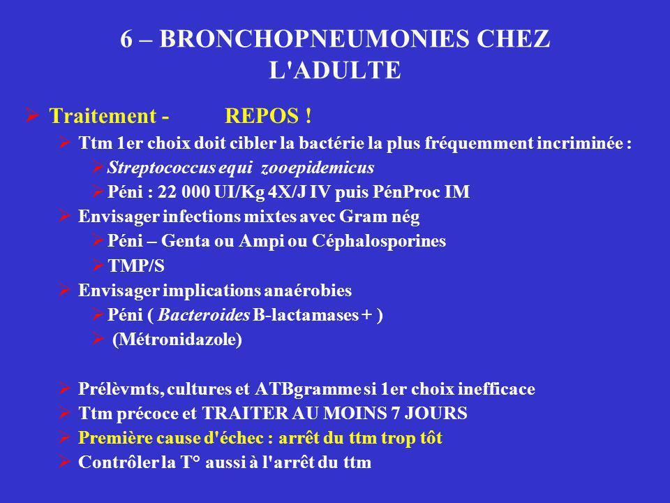 6 – BRONCHOPNEUMONIES CHEZ L'ADULTE  Traitement - REPOS !  Ttm 1er choix doit cibler la bactérie la plus fréquemment incriminée :  Streptococcus eq