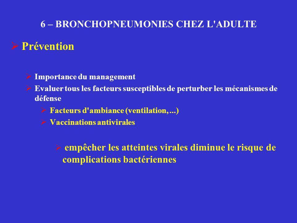 6 – BRONCHOPNEUMONIES CHEZ L'ADULTE  Prévention  Importance du management  Evaluer tous les facteurs susceptibles de perturber les mécanismes de dé