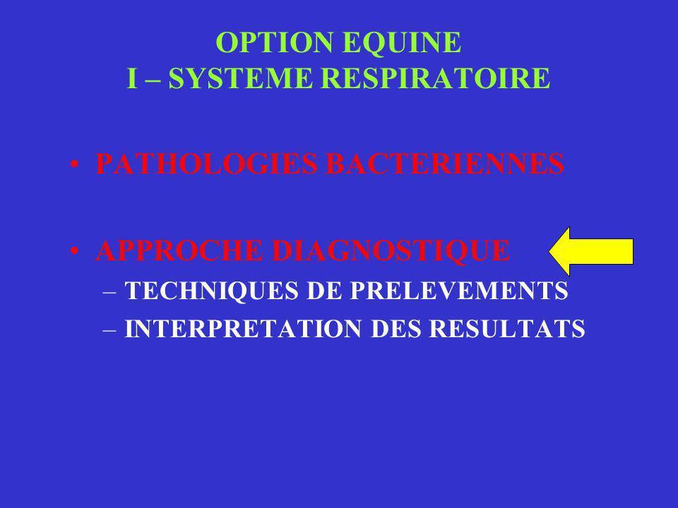 OPTION EQUINE I – SYSTEME RESPIRATOIRE •PATHOLOGIES BACTERIENNES •APPROCHE DIAGNOSTIQUE –TECHNIQUES DE PRELEVEMENTS –INTERPRETATION DES RESULTATS