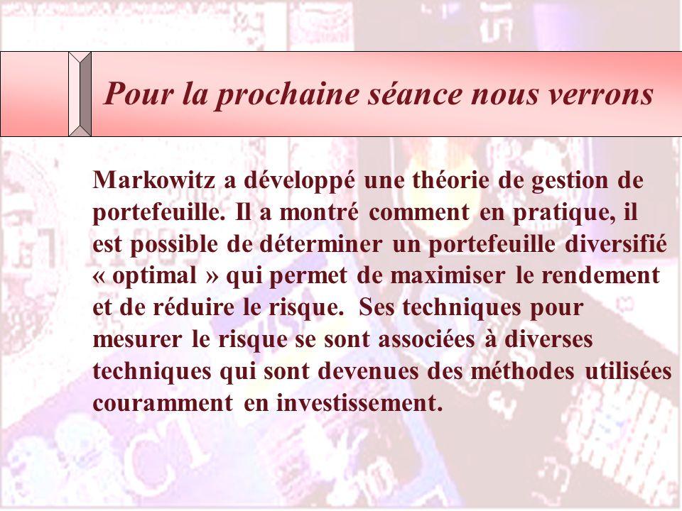 Finance, IntroductionCours Fin2057 - ELHAGE Copyright 2002 Pour la prochaine séance nous verrons Markowitz a développé une théorie de gestion de porte
