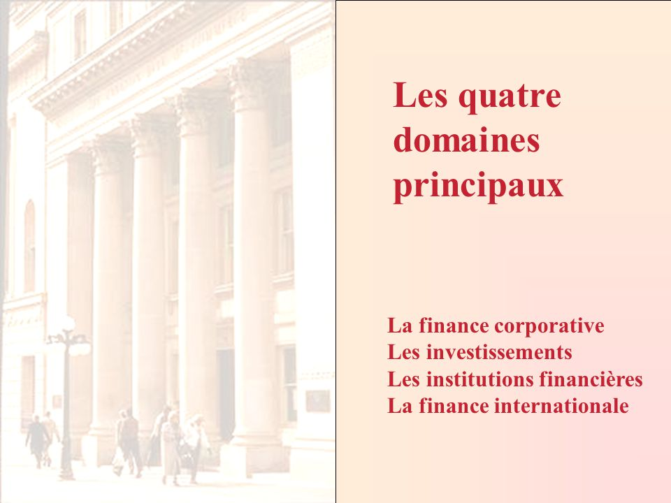Finance, IntroductionCours Fin2057 - ELHAGE Copyright 2002 La finance corporative Les investissements Les institutions financières La finance internationale Les quatre domaines principaux