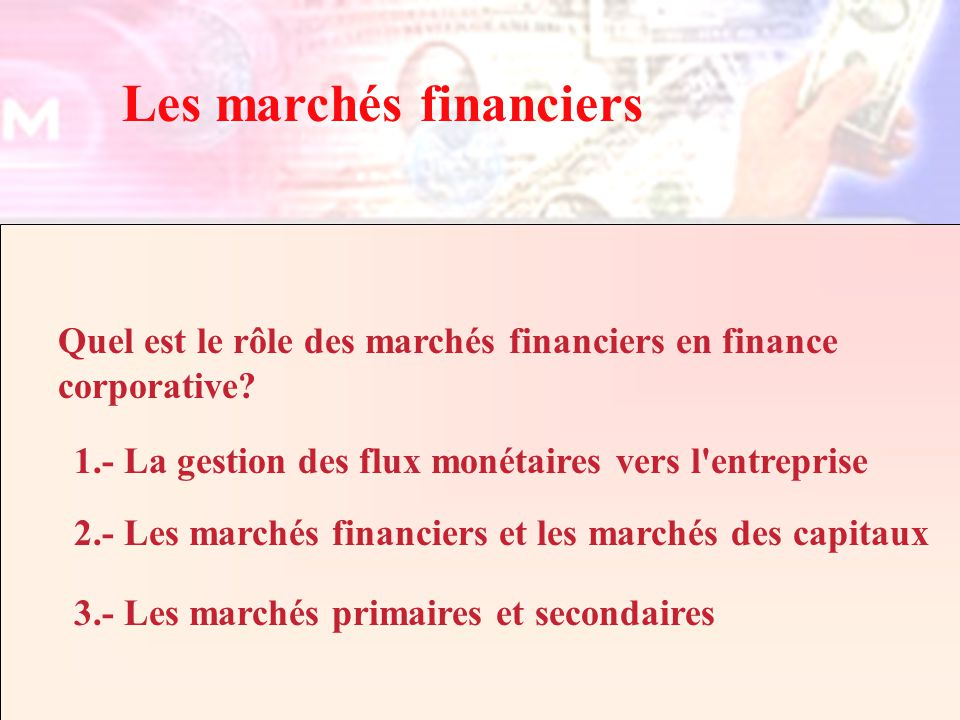 Finance, IntroductionCours Fin2057 - ELHAGE Copyright 2002 Les marchés financiers Quel est le rôle des marchés financiers en finance corporative.