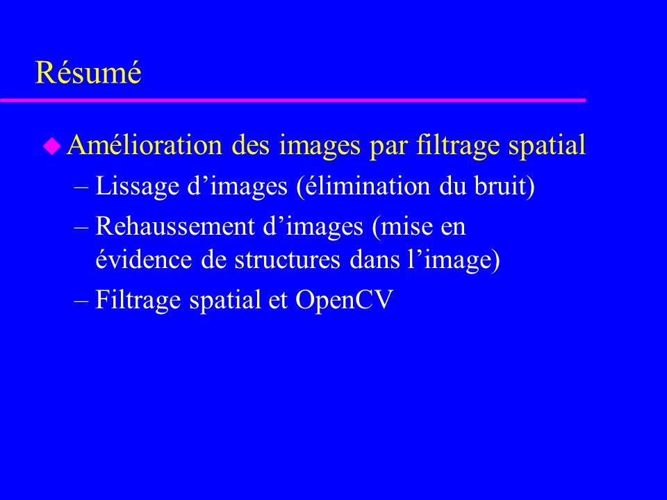 Filtrage spatial et OpenCV u Image du gradient en y