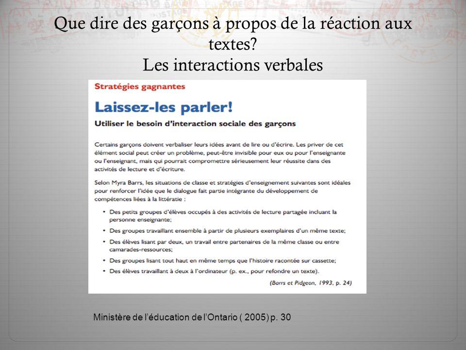 Ministère de l'éducation de l'Ontario ( 2005) p. 30 Que dire des garçons à propos de la réaction aux textes? Les interactions verbales