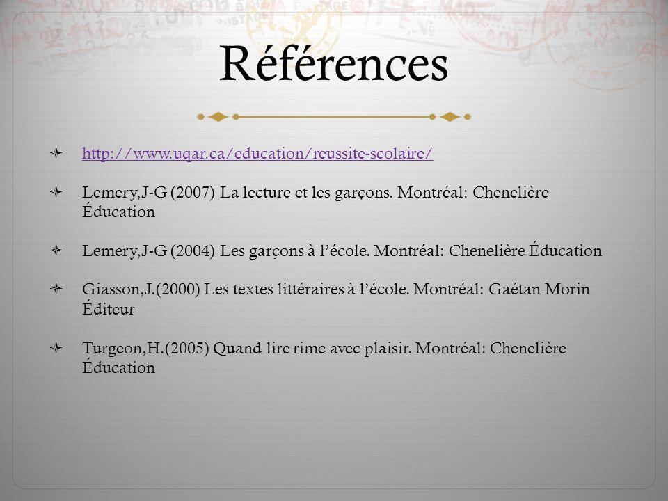 Références  http://www.uqar.ca/education/reussite-scolaire/ http://www.uqar.ca/education/reussite-scolaire/  Lemery,J-G (2007) La lecture et les gar