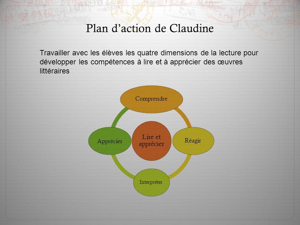 Plan d'action de Claudine Travailler avec les élèves les quatre dimensions de la lecture pour développer les compétences à lire et à apprécier des œuv
