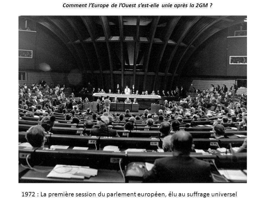Comment l'Europe de l'Ouest s'est-elle unie après la 2GM ? 1972 : La première session du parlement européen, élu au suffrage universel