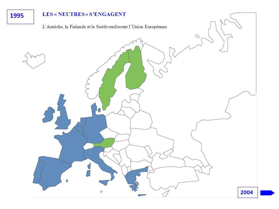 LES « NEUTRES » S'ENGAGENT L'Autriche, la Finlande et la Suède renforcent l'Union Européenne. 1995 2004