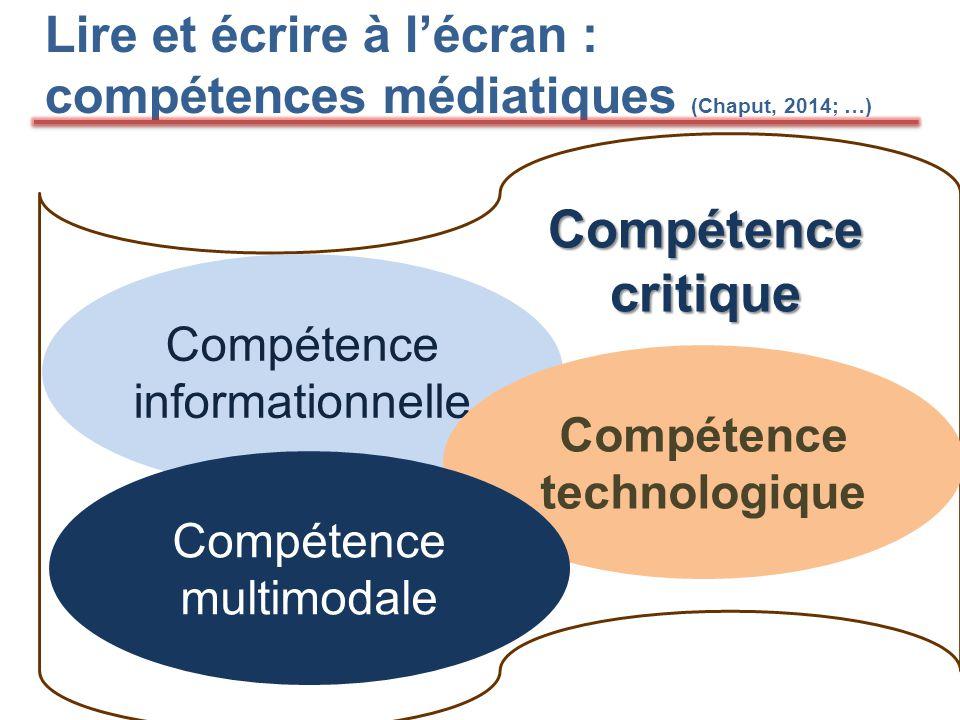 Lire et écrire à l'écran : compétences médiatiques (Chaput, 2014; …) Compétence critique Compétence informationnelle Compétence technologique Compétence multimodale