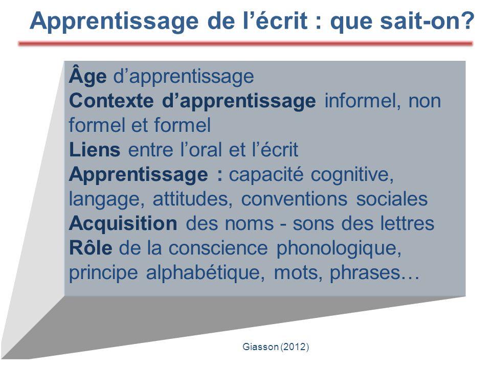 Âge d'apprentissage Contexte d'apprentissage informel, non formel et formel Liens entre l'oral et l'écrit Apprentissage : capacité cognitive, langage,