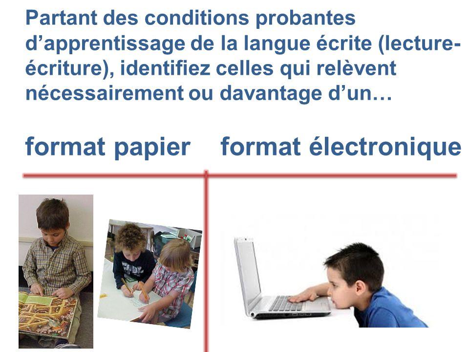 Partant des conditions probantes d'apprentissage de la langue écrite (lecture- écriture), identifiez celles qui relèvent nécessairement ou davantage d'un… format papier format électronique