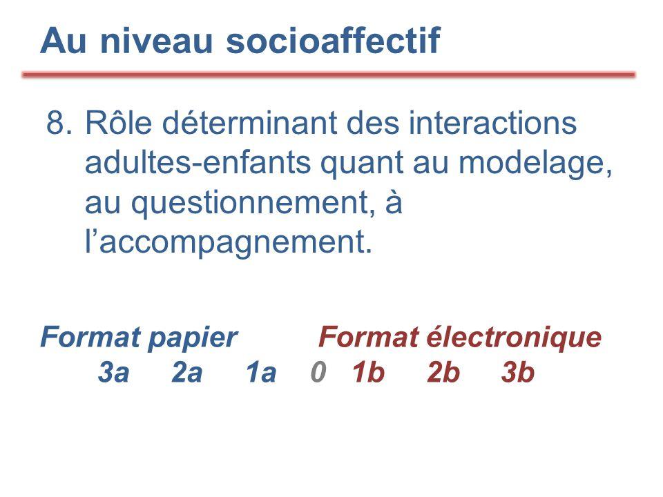 Au niveau socioaffectif 8. Rôle déterminant des interactions adultes-enfants quant au modelage, au questionnement, à l'accompagnement. Format papier F