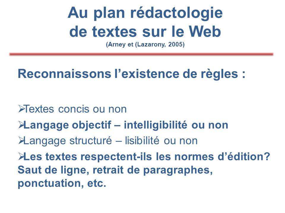 Au plan rédactologie de textes sur le Web (Arney et (Lazarony, 2005) Reconnaissons l'existence de règles :  Textes concis ou non  Langage objectif – intelligibilité ou non  Langage structuré – lisibilité ou non  Les textes respectent-ils les normes d'édition.