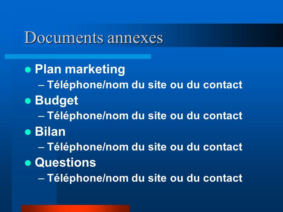 Documents annexes  Plan marketing –Téléphone/nom du site ou du contact  Budget –Téléphone/nom du site ou du contact  Bilan –Téléphone/nom du site ou du contact  Questions –Téléphone/nom du site ou du contact