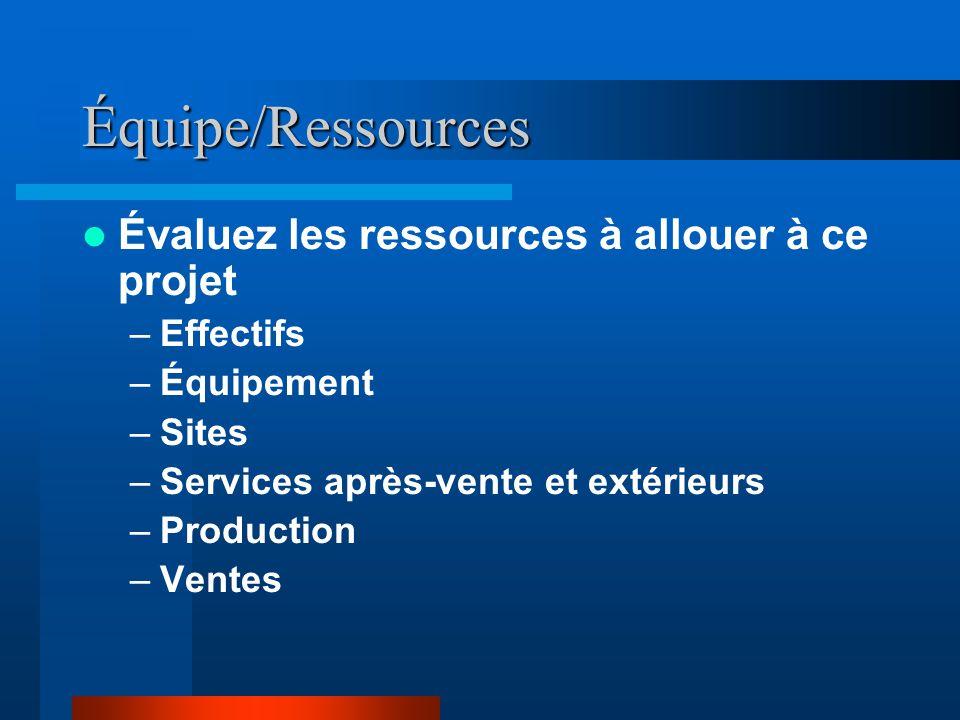 Équipe/Ressources  Évaluez les ressources à allouer à ce projet –Effectifs –Équipement –Sites –Services après-vente et extérieurs –Production –Ventes