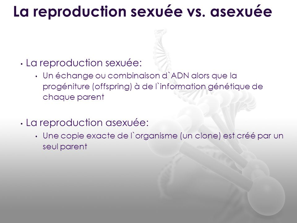• La reproduction sexuée: • Un échange ou combinaison d`ADN alors que la progéniture (offspring) à de l`information génétique de chaque parent • La re