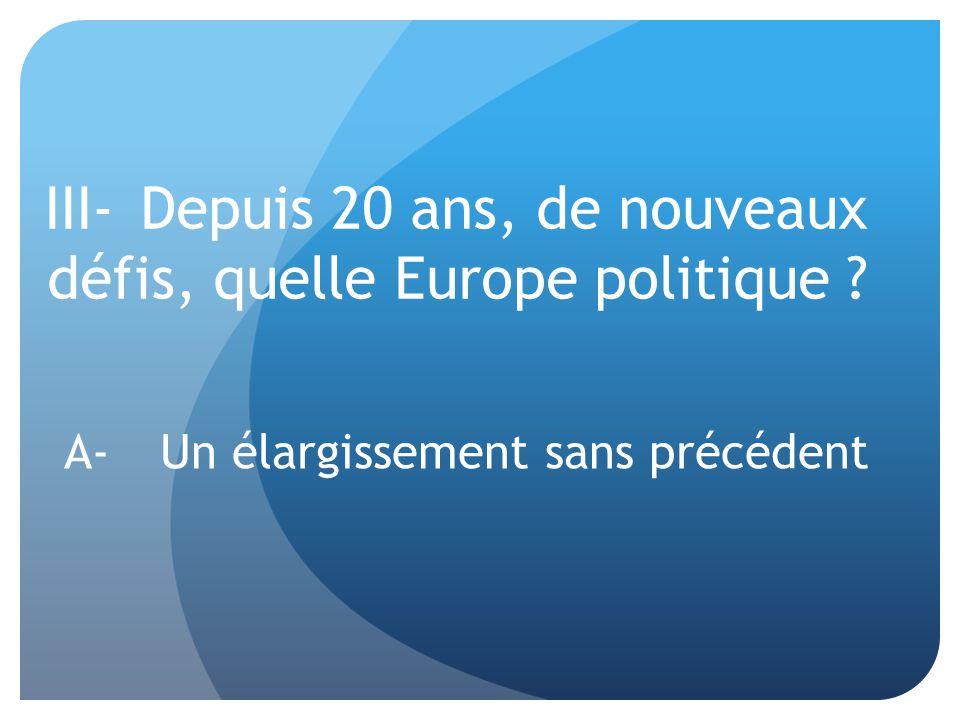III-Depuis 20 ans, de nouveaux défis, quelle Europe politique ? A-Un élargissement sans précédent