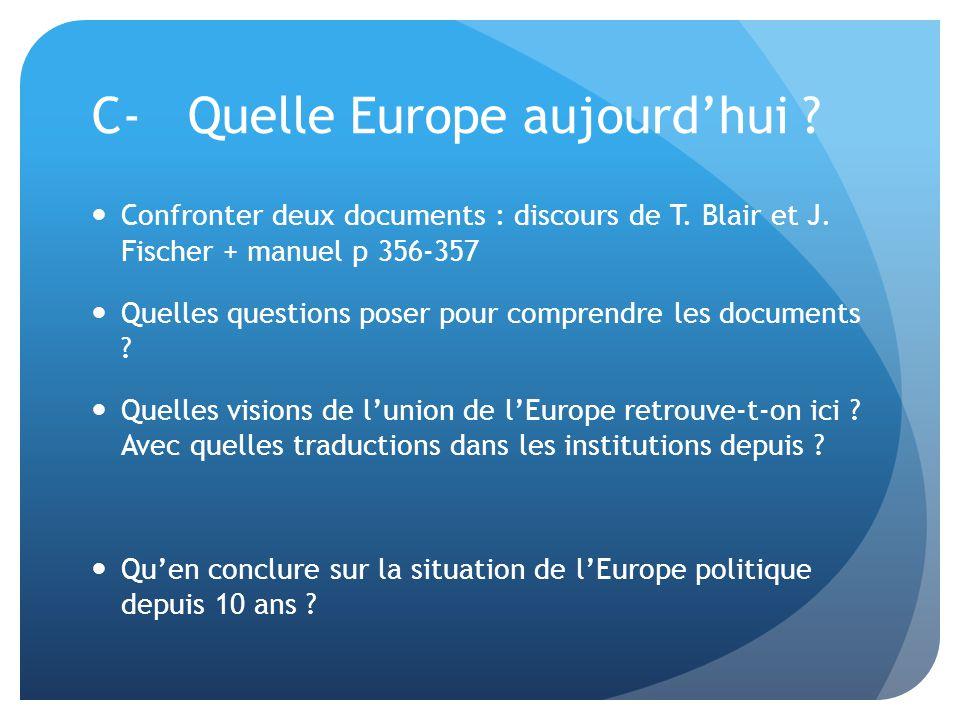 C-Quelle Europe aujourd'hui ?  Confronter deux documents : discours de T. Blair et J. Fischer + manuel p 356-357  Quelles questions poser pour compr