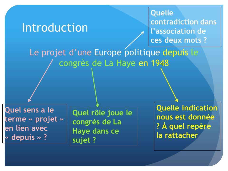 Introduction Le projet d'une Europe politique depuis le congrès de La Haye en 1948 Quelle indication nous est donnée ? À quel repère la rattacher Quel