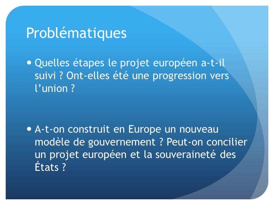 Problématiques  Quelles étapes le projet européen a-t-il suivi ? Ont-elles été une progression vers l'union ?  A-t-on construit en Europe un nouveau