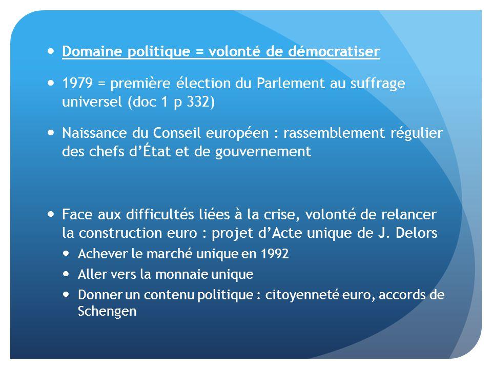  Domaine politique = volonté de démocratiser  1979 = première élection du Parlement au suffrage universel (doc 1 p 332)  Naissance du Conseil europ