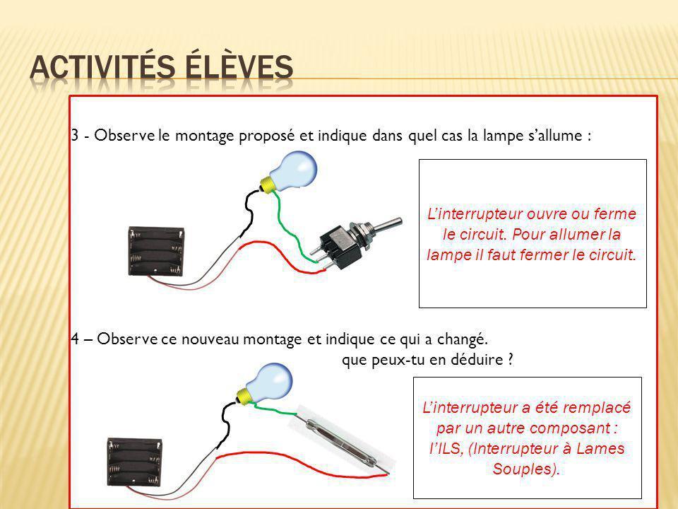 5 – Détermine les objets, parmi ceux proposés, qui permettent le fonctionnement du circuit : Que constates-tu .