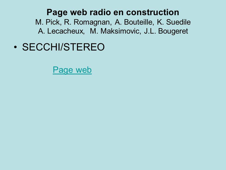 Page web radio en construction M. Pick, R. Romagnan, A.