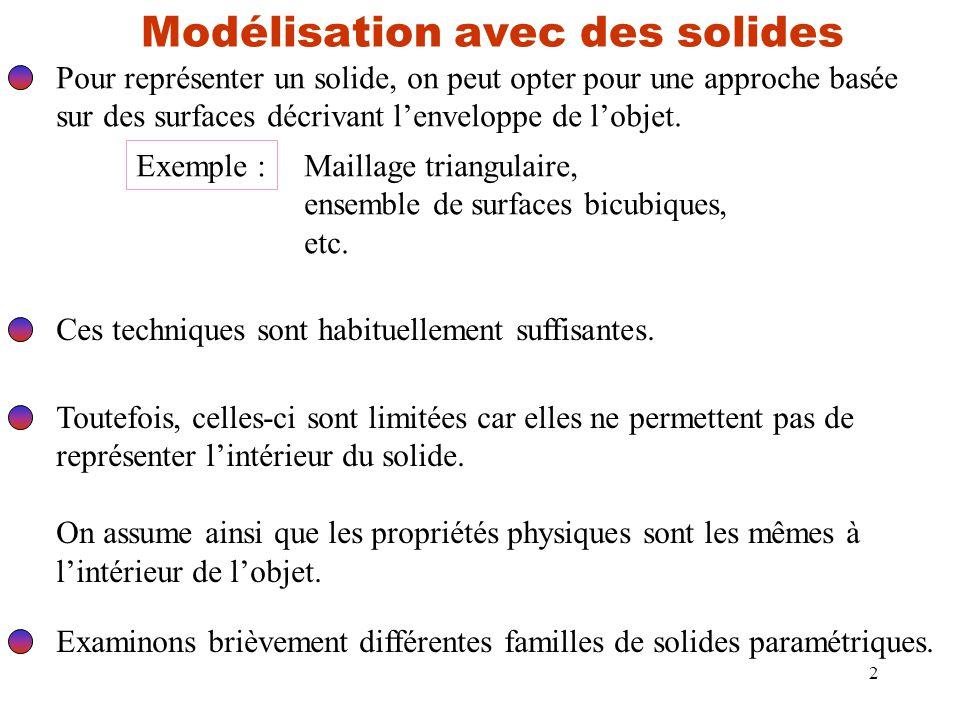 2 Modélisation avec des solides Pour représenter un solide, on peut opter pour une approche basée sur des surfaces décrivant l'enveloppe de l'objet.