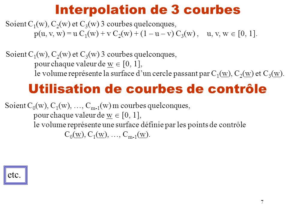 7 Interpolation de 3 courbes Soient C 1 (w), C 2 (w) et C 3 (w) 3 courbes quelconques, p(u, v, w) = u C 1 (w) + v C 2 (w) + (1 – u – v) C 3 (w),u, v, w  [0, 1].