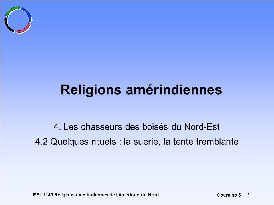 REL 1143 Religions amérindiennes de l'Amérique du Nord1 Cours no 5 Religions amérindiennes 4. Les chasseurs des boisés du Nord-Est 4.2 Quelques rituel