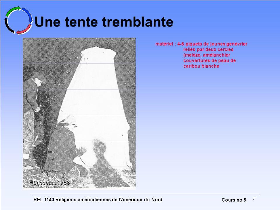 REL 1143 Religions amérindiennes de l'Amérique du Nord7 Cours no 5 Une tente tremblante Rousseau, 1958 matériel : 4-6 piquets de jeunes genèvrier reliés par deux cercles (melèze, amélanchier couvertures de peau de caribou blanche