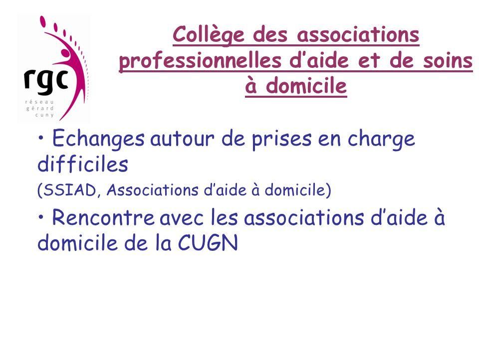 Collège des associations professionnelles d'aide et de soins à domicile • Echanges autour de prises en charge difficiles (SSIAD, Associations d'aide à