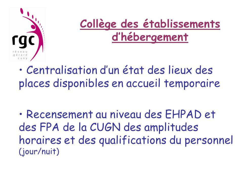 Collège des établissements d'hébergement • Centralisation d'un état des lieux des places disponibles en accueil temporaire • Recensement au niveau des